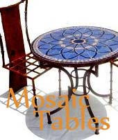 Mosaic tables, mosaic bistro table, moroccan mosaic bar table, mosaic table top, mosaic tile table top