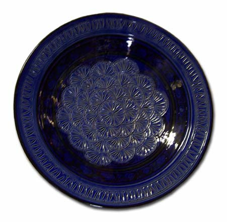Blue carved plate 16