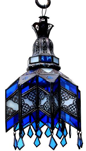 Blue glass ceiling chandelier