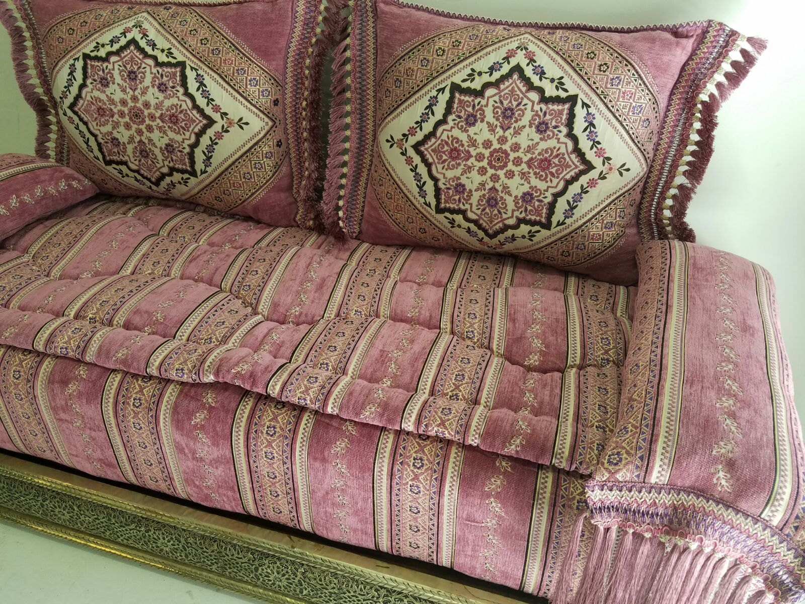 New Arrival A Gorgeous Moroccan Sofa With Quality Fabric Andalusian Wooden Moorish Carving Artwork Unique Great Workmanship All Handmade In Morocco