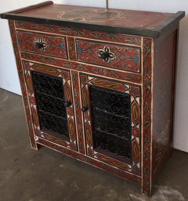 Wrought iron filigree painted drersser