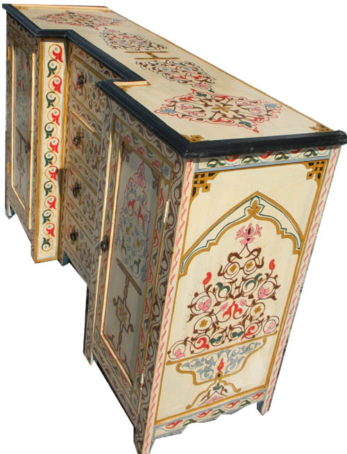 Moroccan cabinet marnissa cream cabinet for Moroccan hand painted furniture