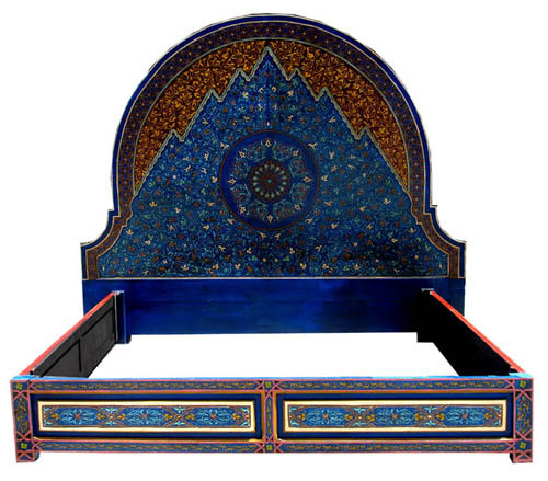 Moroccan blue bed at justmorocco