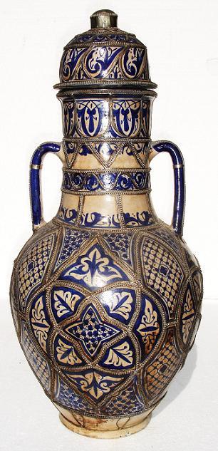 Mediterranean pottery: moroccan mediterranean vase, handpainted vase, moroccan painted vase, painted pottery