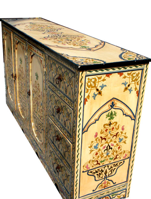 Hand painted furniture moroccan painted cabinet for Moroccan hand painted furniture