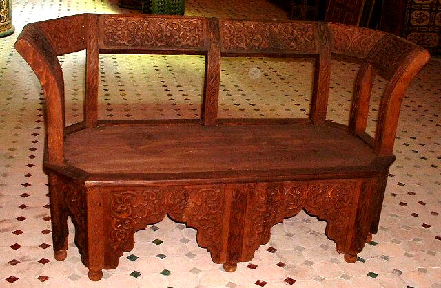 Moorish cedar bench