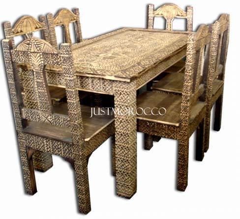 African carved dining set - primitive art furniture
