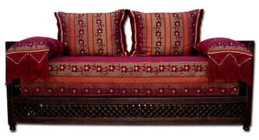 Great fabric sofa - middle eastern home decor - middle eastern sofa :  interior design moroccan pillows style