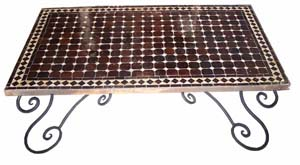 Maroon mosaic table.