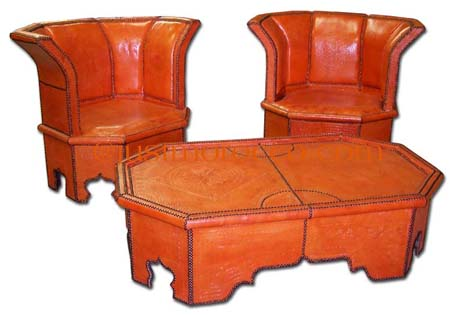 orange leather dining set :  leather home tables furniture