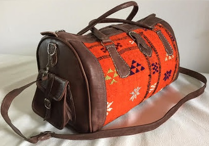 orange kilim leather bag