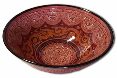 Red carved bowl