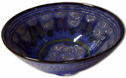 Blue carved bowl