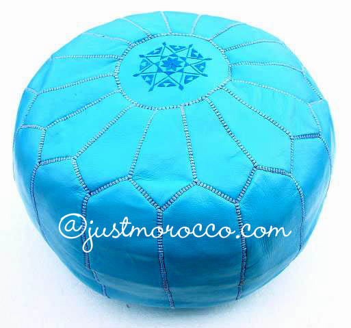justmorocco. Embroidred Leather footstool :  footstool pouf