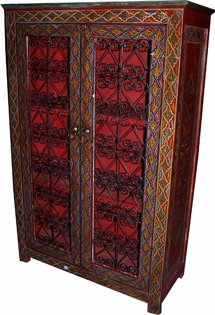Moroccan red cabinet for Moroccan hand painted furniture