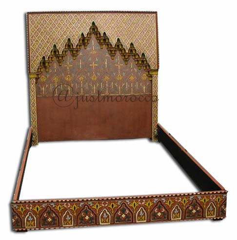 Moroccan Painted Head Board Bed