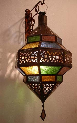 Stain glass lamp - multicolor stain glass lanterns & lamps at justmorocco