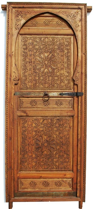 Moorish single door & Kufi Calligraphy door - moroccan cedar door