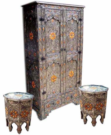carved silver and bone armoire :  home tables furniture handmade