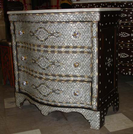 Syrian furniture: mother of pearl cabinet :  mother of pearl drawers home decor decor