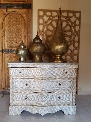 Syrian White Mother of Pearl Inlay Wedding Dresser