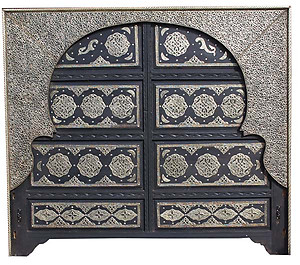 Moroccan silver headboard bed