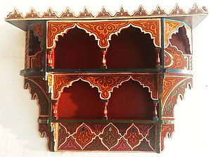 Hand painted moroccan shelf