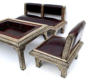 Moroccan silver living room set
