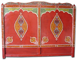 Moroccan painted headboard bed