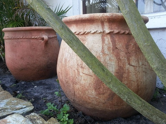 Rustic Moroccan clay flower pot