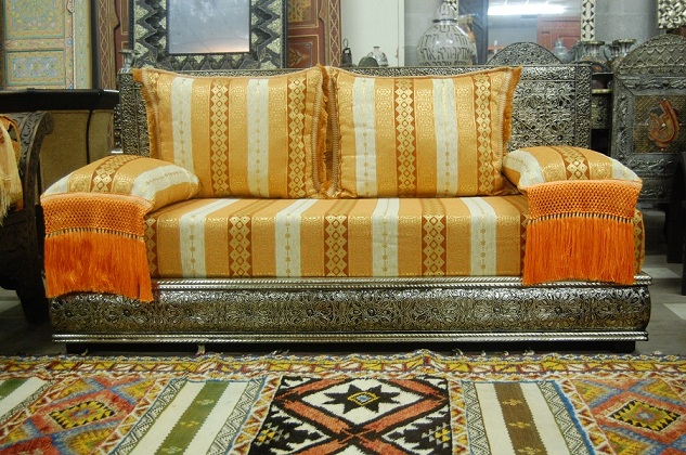 Orange tangier sofa for Moroccan living room furniture 02