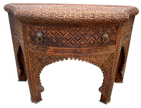 Carved Cedar Console Carved Furniture At Justmorocco