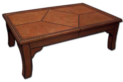 Orange leather table