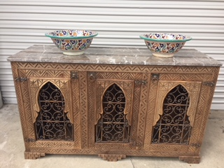 Moorish bathroom vanity cabinet