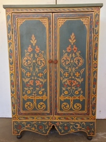 Moroccan antique painted armoire