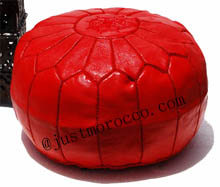 Moroccan red pouf